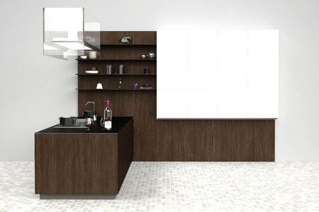 3d computer rendered illustration of modern kitchen Stock Photo