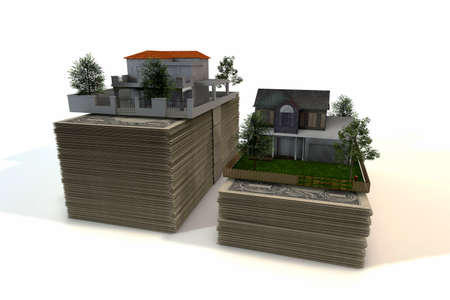 housing prices: 3D rendered illustration of Two Dollar Bills Houses on white background Stock Photo
