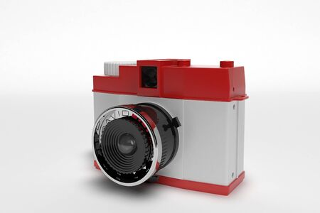 analogous: 3D computer made the old Retro Camera system on a white background Stock Photo