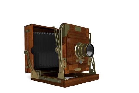 oldie: 3D computer made the Vintage Film Camera on a white background in wooden case
