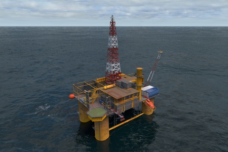 rendered: 3d computer rendered the Oil Platorm in ocean