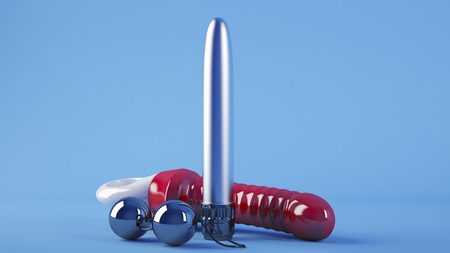 computer rendered 3D sex toys on blue background