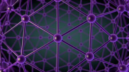 array: computer rendered illustration of Atom Array Material in Black light Stock Photo