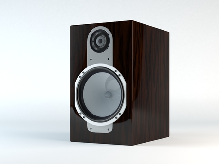 acoustic systems: 3D Computer rendered illustration the beautiful Monitor Loudspeaker Wooden Stock Photo