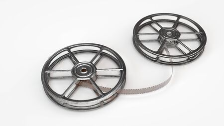 Computer rendered illustration of electric old movie reels of white underground