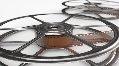Computer rendered illustration of electric old movie reel inclose up of white underground