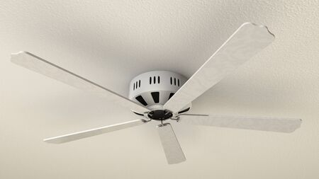 Computer rendered illustration of electric fan above the wall