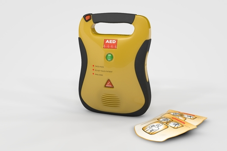 ridges: Computer rendered illustration One AED Defibrillator on white backgroud