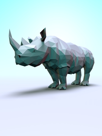 Computer rendered illustration of the Rhino Posters Stock Photo
