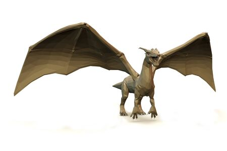 3d computer rendering illustration on low Polygone Object Dragon right view