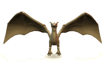 3d dragon: 3d computer rendering illustration on low Polygone Object Dragon front