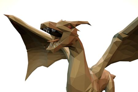 3d computer rendering illustration on low Polygone Object Dragon front left view Stock Photo