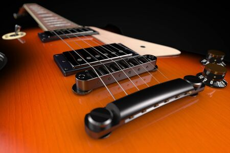 3D computer rendering of a Electric Guitar on black background Stock Photo