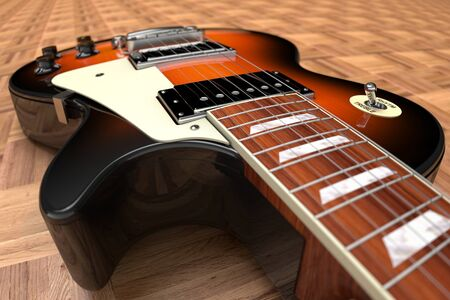 3D computer rendering of a Electric Guitar on wooden parquet flooring Stock Photo