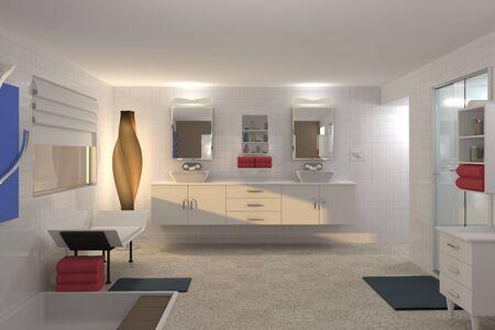 3D Computer rendered illustration of modern bathroom
