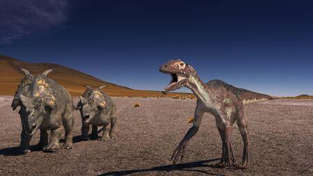 3D computer rendering of two Achelousaurus vs Raptor