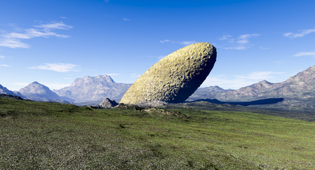 3d rendering of a computer made fractal mountain landscape and stone