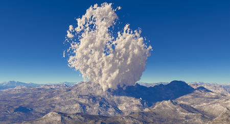 3d rendering of a computer made fractal mountain landscape withe eruption volcano
