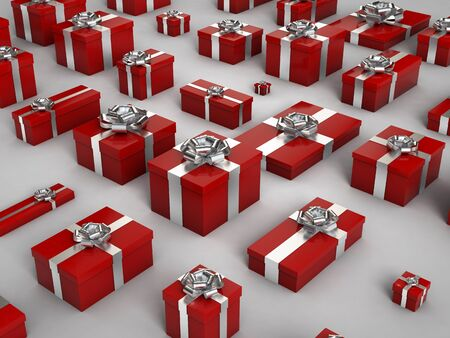 3d rendering of red christmas gif box on white background Stock Photo