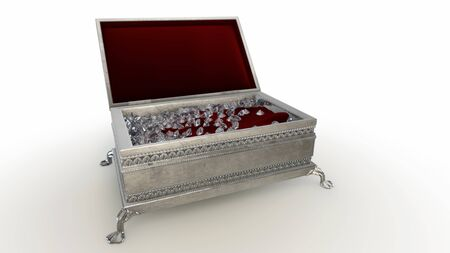 3D rendering Jewelery case with DIAMOND feels on  white background Stock Photo