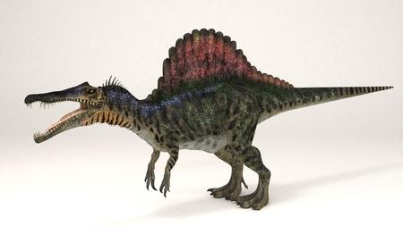 スピノサウルスの 3 D レンダリング イラスト 写真素材