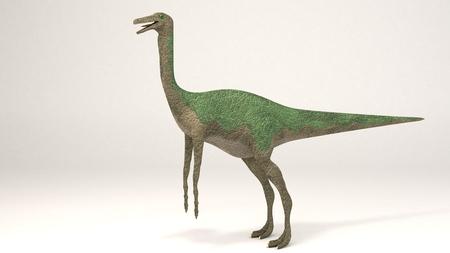 3D Computer rendering illustration of Gallimimus green Stock fotó