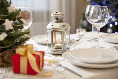 Christmas table and decorations at home Stock Photo