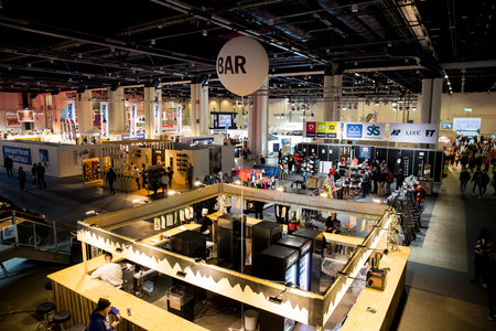 HelsinkiI, Finland - MARCH 16, 2019: GOEXPO Winter 2019 fair in the Messukeskus. Spacious hall of ExpoCentre with winter sport equipment shops. All for active lifestyle and outdoor activities. Editorial