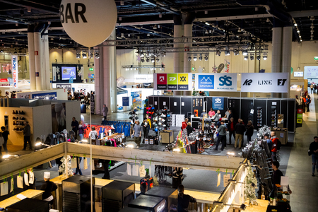 HelsinkiI, Finland - MARCH 16, 2019: GOEXPO Winter 2019 fair in the Messukeskus. Spacious hall of ExpoCentre with winter sport equipment shops. All for active lifestyle and outdoor activities.