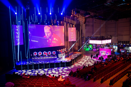 HELSINKI, FINLAND - NOVEMBER 15, 2019: Fight professional cybersportsmen of the BYOC tournament for Counter-Strike: Global Offensive at Assembly GameXpo 2019. Exhibition and Convention Centre