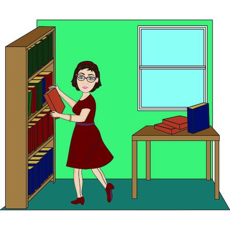 Bibliothecaris rekken boeken