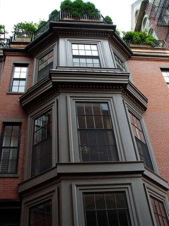 brownstone: Beautiful trio of bay windows of brownstone on Bostons Beaccon Hill. Stock Photo