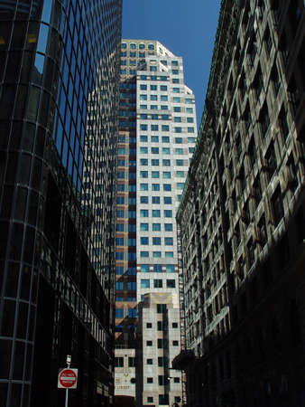 Downtown Boston reflective glass building near High Street.