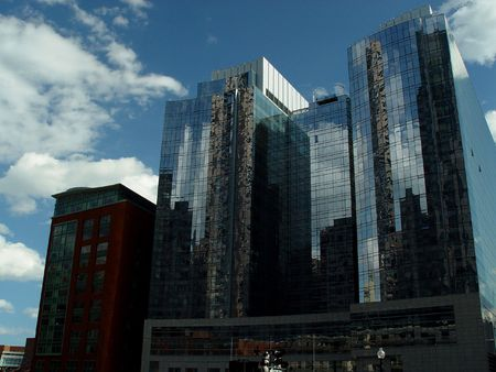 reflective: Reflective glass building on Bostons waterfront. Stock Photo