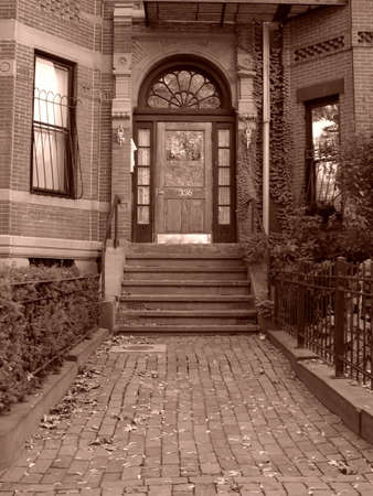 brownstone: Entryway and steps to home of a Back Bay brownstone in Boston Massachusetts. Stock Photo