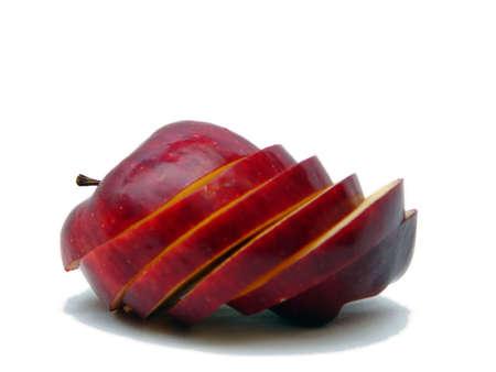 sliced apple: Sliced apple laying on side