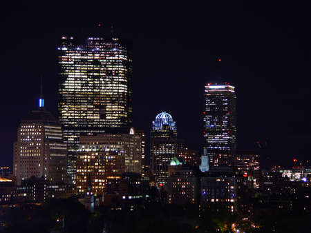 Back Bay skyline at night in Boston, Massachusetts