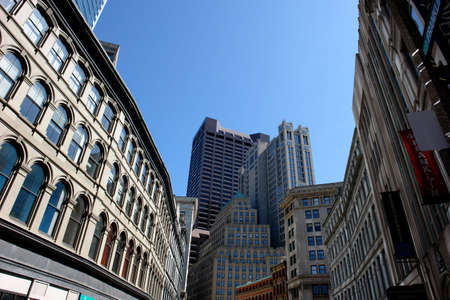 Spring day in downton Boston near the financial district.