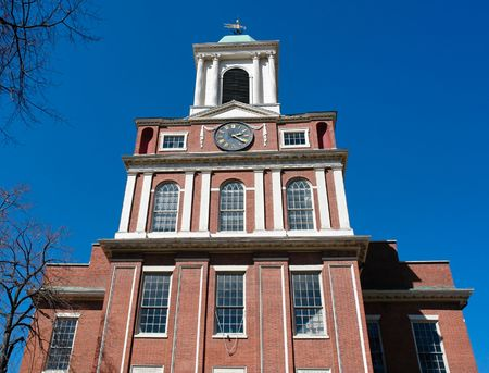 old west church in boston dating back to 1737, clock on tower shows 2:20 pm