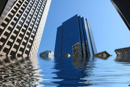 amusing image of boston skyscrapers being flooded Imagens