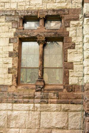 Gros plan de vieux vitraux de l'église Trinity sur la place Copley, Boston Massachusetts Banque d'images - 1696673
