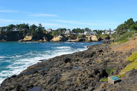 scenic image of waves crashing on the oregon coast, with seagulls on the ledge and houses in the background