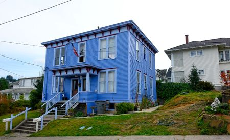 odd: odd looking blue house somewhere in america Stock Photo