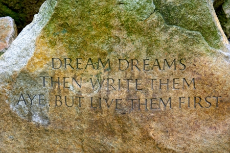 famous quote carved on large stone in the Public Gardens in Boston Massachusetts,  Imagens