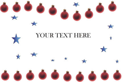 holiday poster or card with blue stars and red christmas ornaments with text you can eisily remove and replace with your own