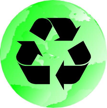 One Green and black illustrated recycling globe Ilustração
