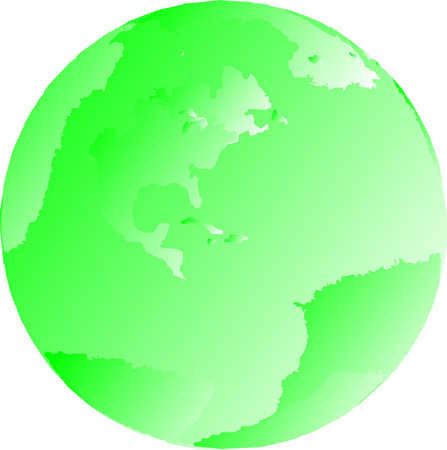 One green illustrated gradient globe of the earth Çizim