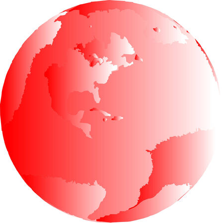 One red illustrated globe of the earth