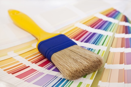 paint brush on a card selection Stock Photo