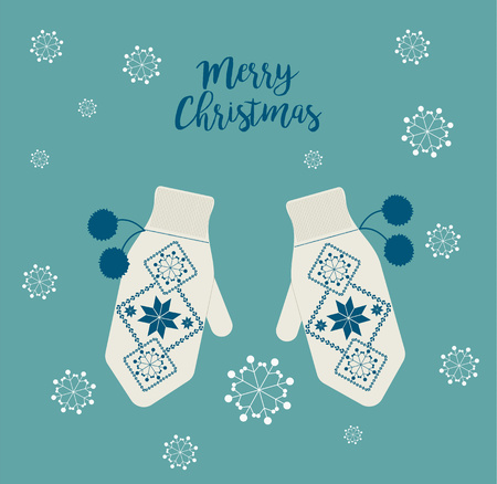 Warm mittens with winter ornaments. Christmas concept. Snowflakes